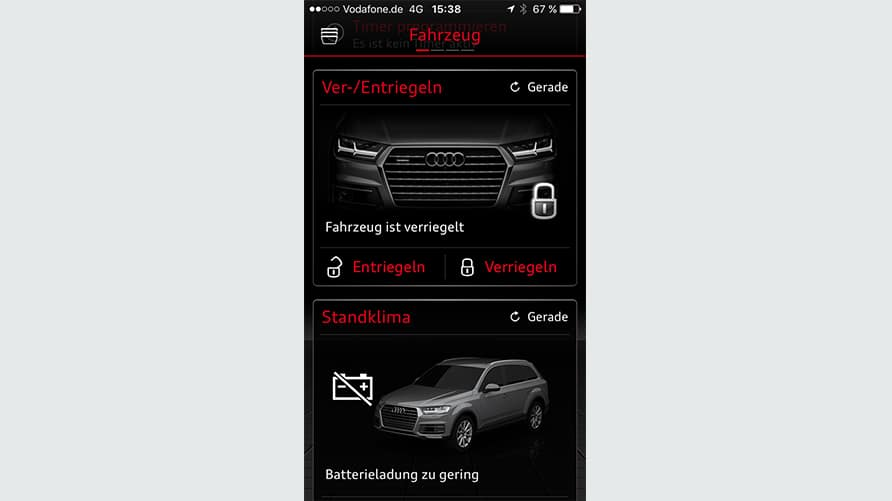 Remote lock & unlock > Find your desired model > Audi connect > Audi