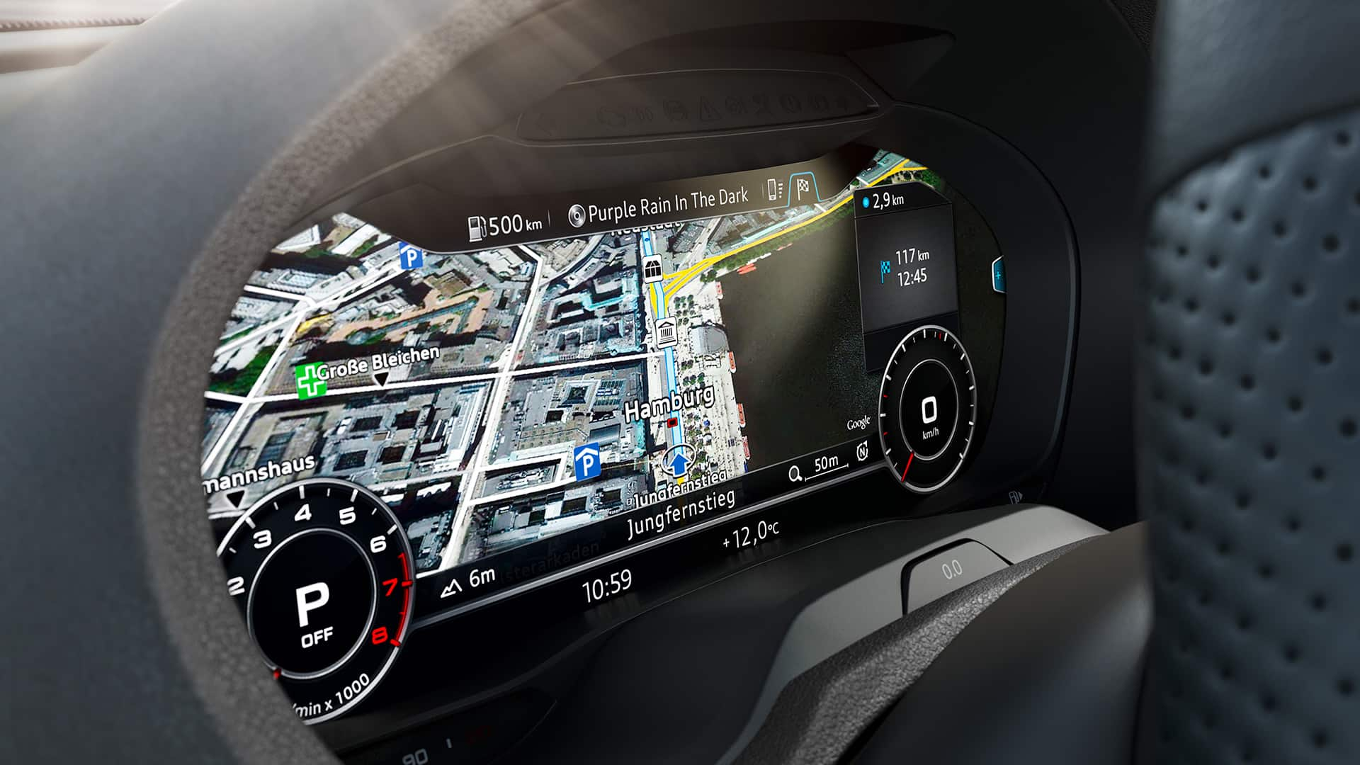 another highlight on board is the optional innovative operating and display concept of the all digital audi virtual cockpit