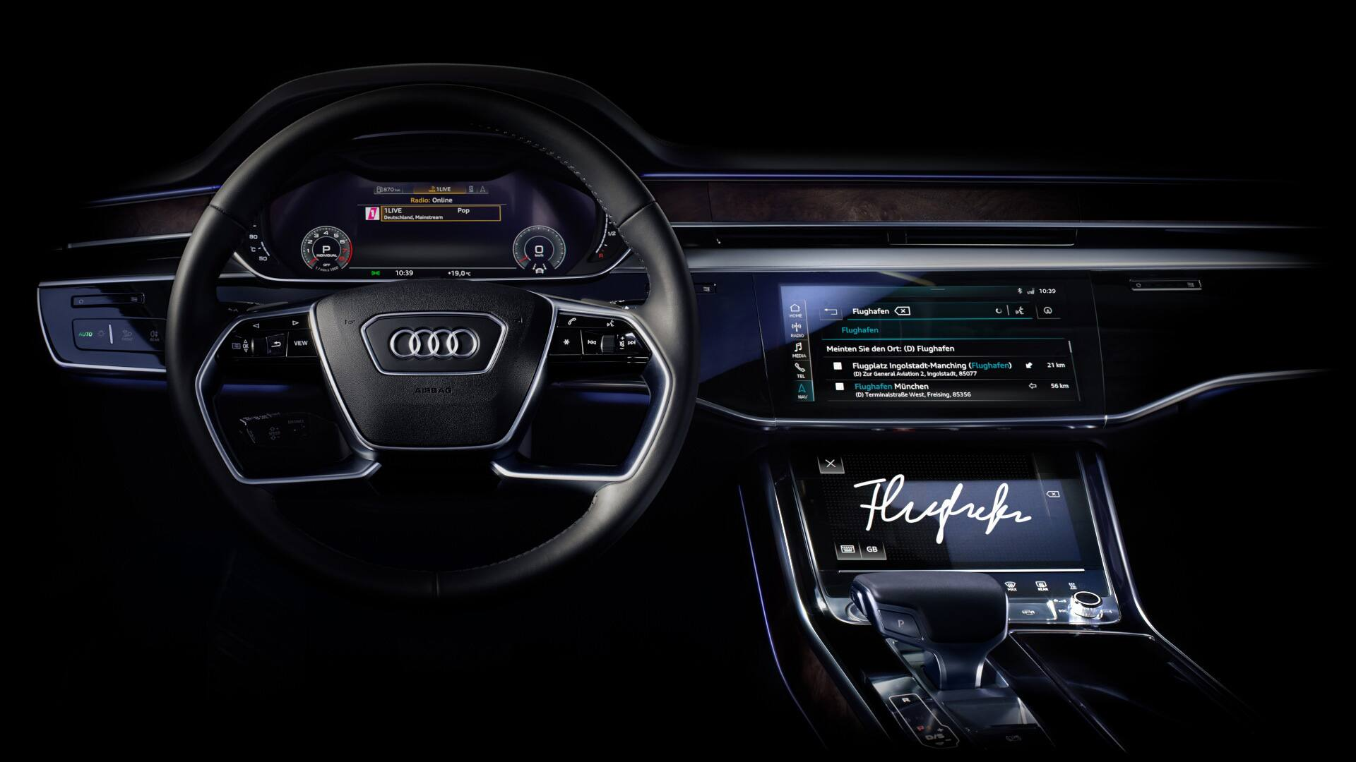 A new operating experience: Touch displays with haptic feedback in the new Audi A8.