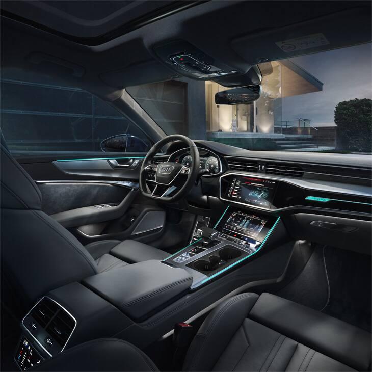 das ambientelicht des neuen a6 avant bereichert das stimmige interieur design