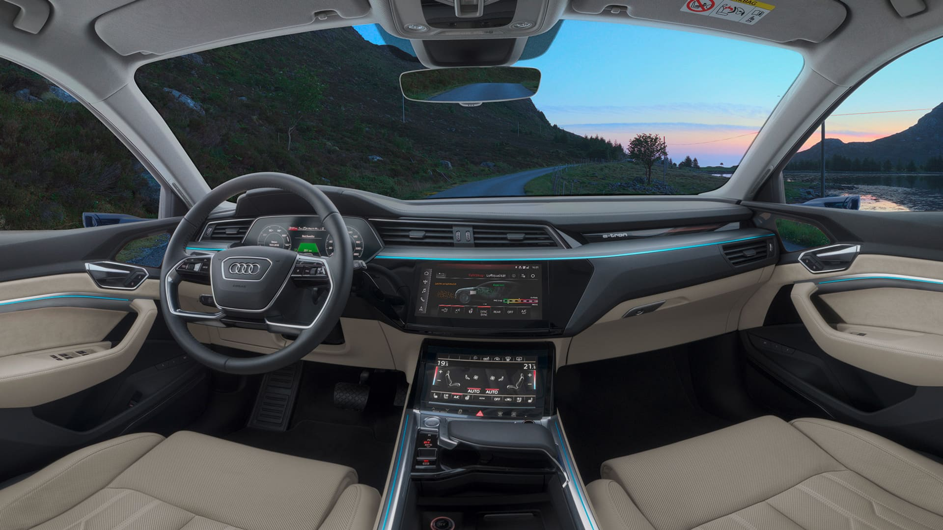 The Interior Of Audi E Tron Is Ious And Comfortable Can Accommodate Four S 615 Litres Luggage Displays Feature Oled Technology